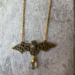 Crystal bat talisman with labradorite